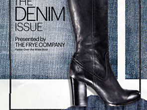 Marie Claire denim issue cover sponsored by Frye footwear