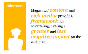Magazines' content and rich media provide a framework for advertising