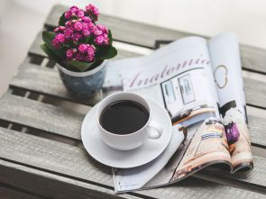 Magazine and a coffee