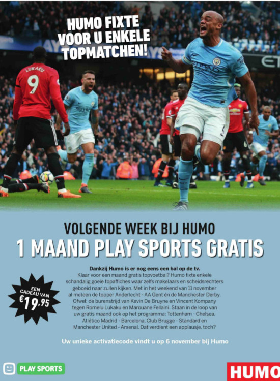 Advertentie Humo en Telenet - match fixing