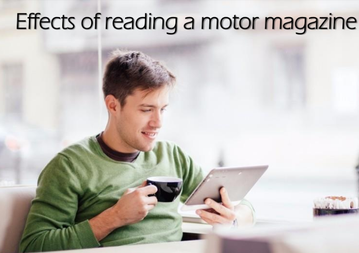 Man reading motor magazine
