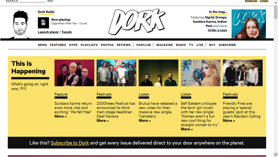 Dork Magazine website