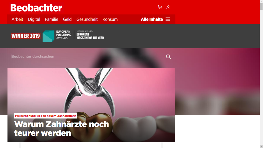 Screenshot website Beobachter
