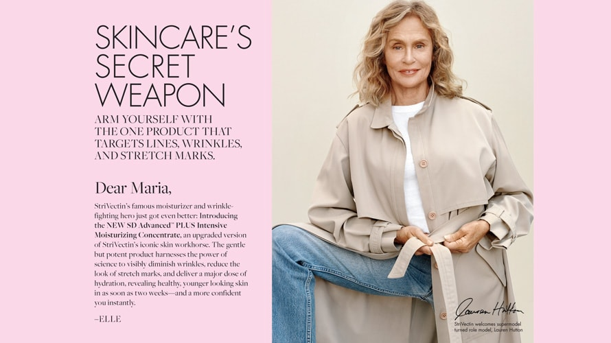 personalised StriVectin ad with Lauren Hutton