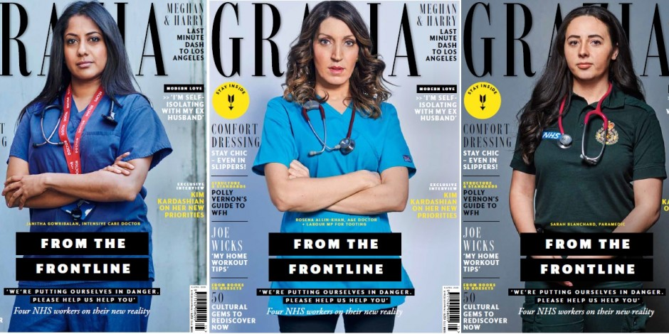Grazia covers with NHS workers