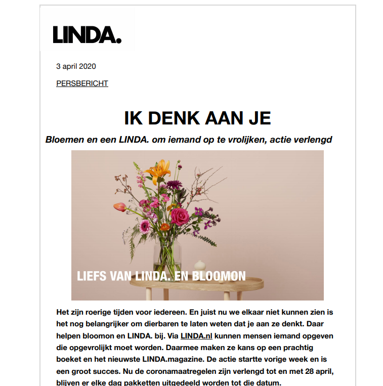 Linda press release Bloomon