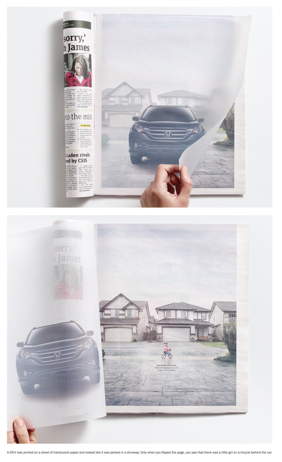 Honda ad with chalk paper