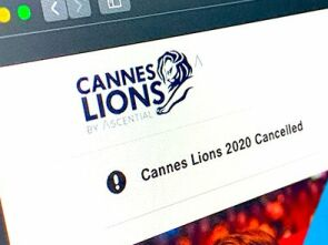 computerscreen showing Cannes Lions website - cancelled 2020