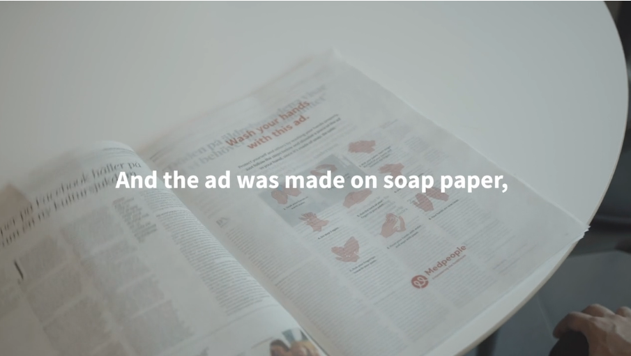 ad made on soap paper