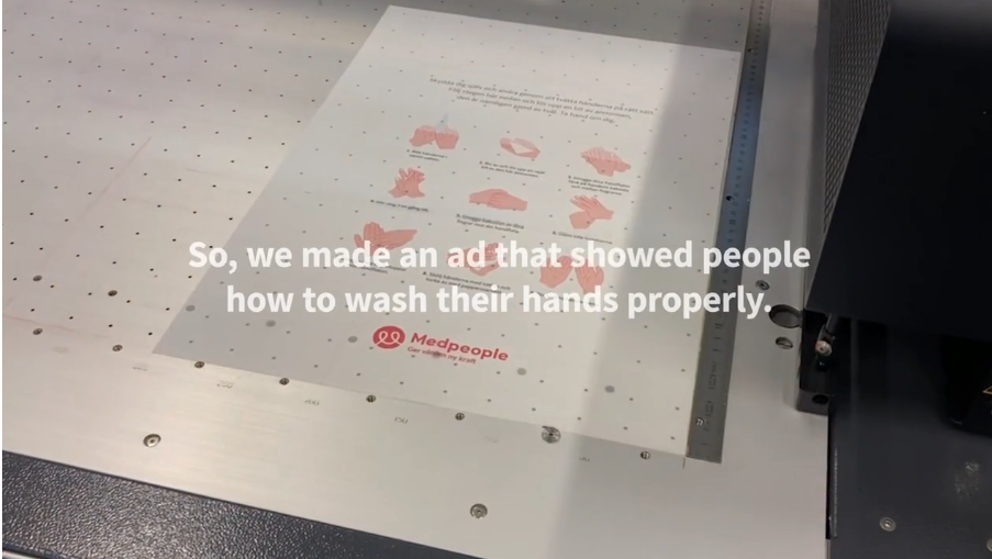 ad shows people how to wash their hands