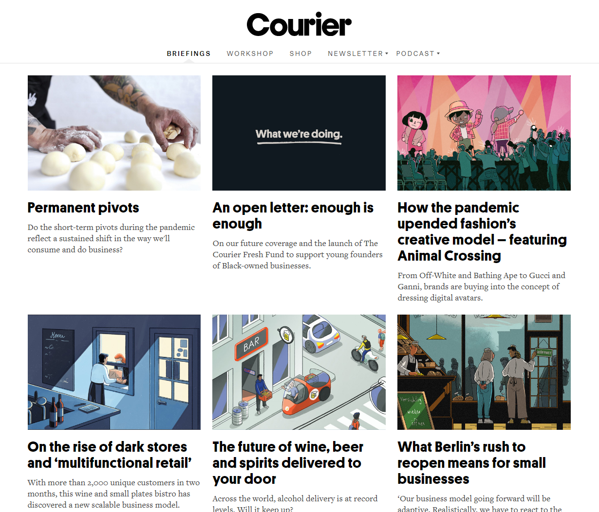 Courier Briefings webpage