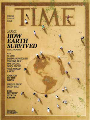 Cover of Time magazine in sand